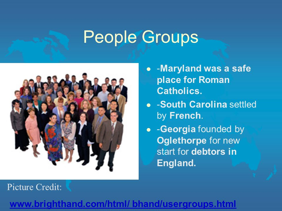 People Groups -Maryland was a safe place for Roman Catholics.