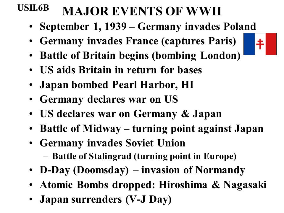 MAJOR EVENTS OF WWII September 1, 1939 – Germany invades Poland