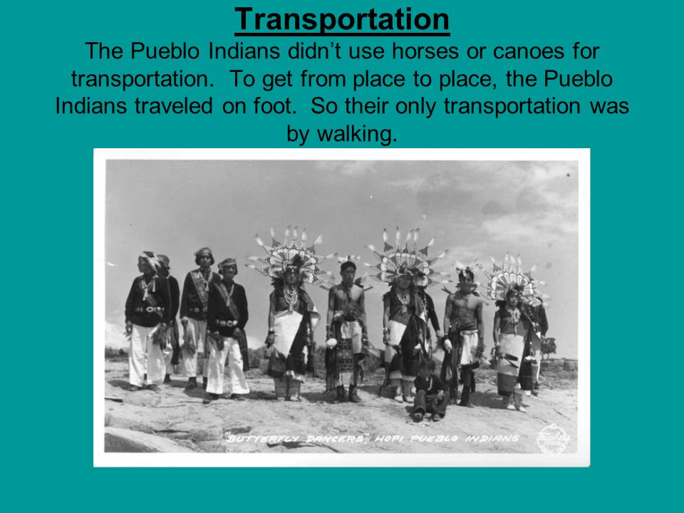 Transportation The Pueblo Indians didn't use horses or canoes for transportation.