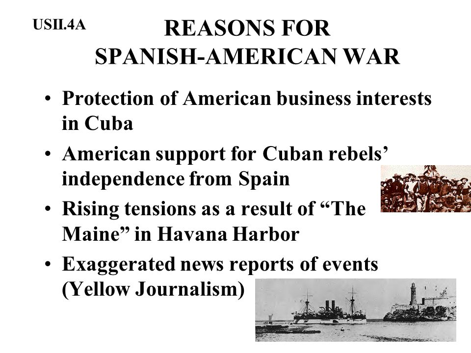 REASONS FOR SPANISH-AMERICAN WAR