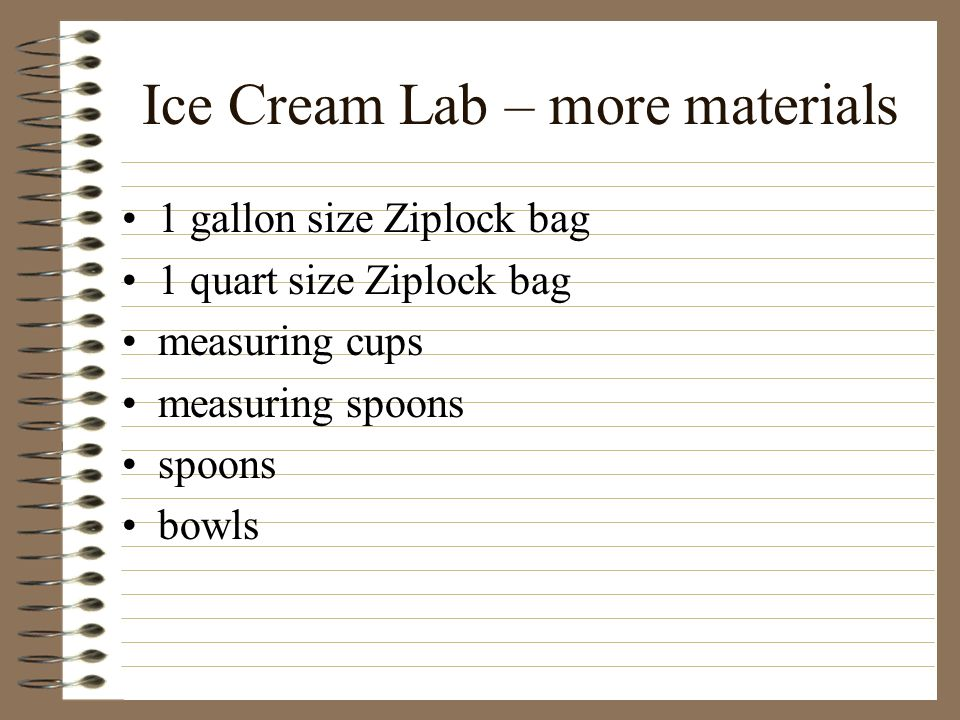 Ice Cream Lab – more materials
