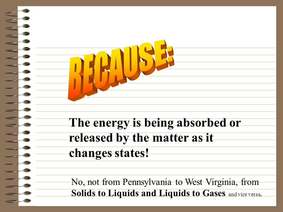 BECAUSE: The energy is being absorbed or released by the matter as it changes states!