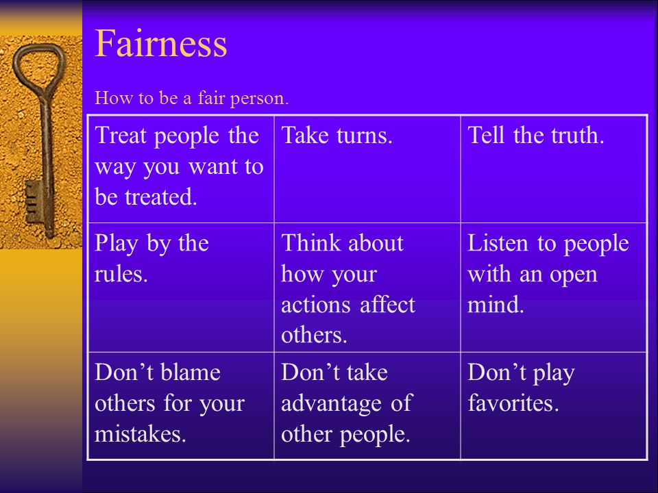 Fairness How to be a fair person.