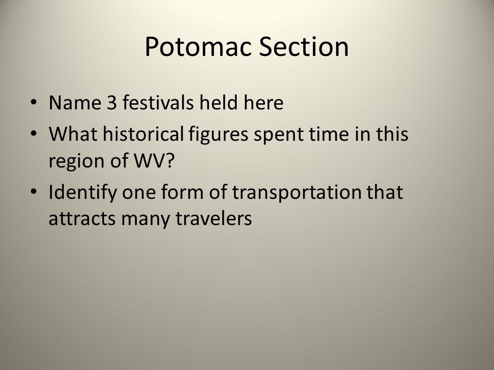 Potomac Section Name 3 festivals held here