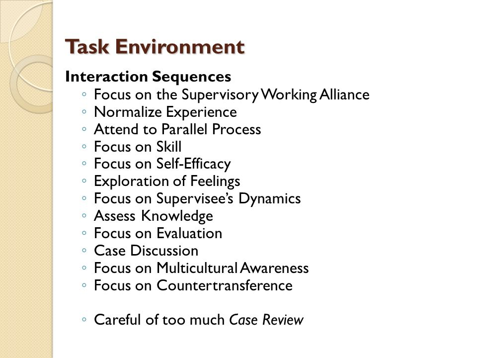 Task Environment Interaction Sequences