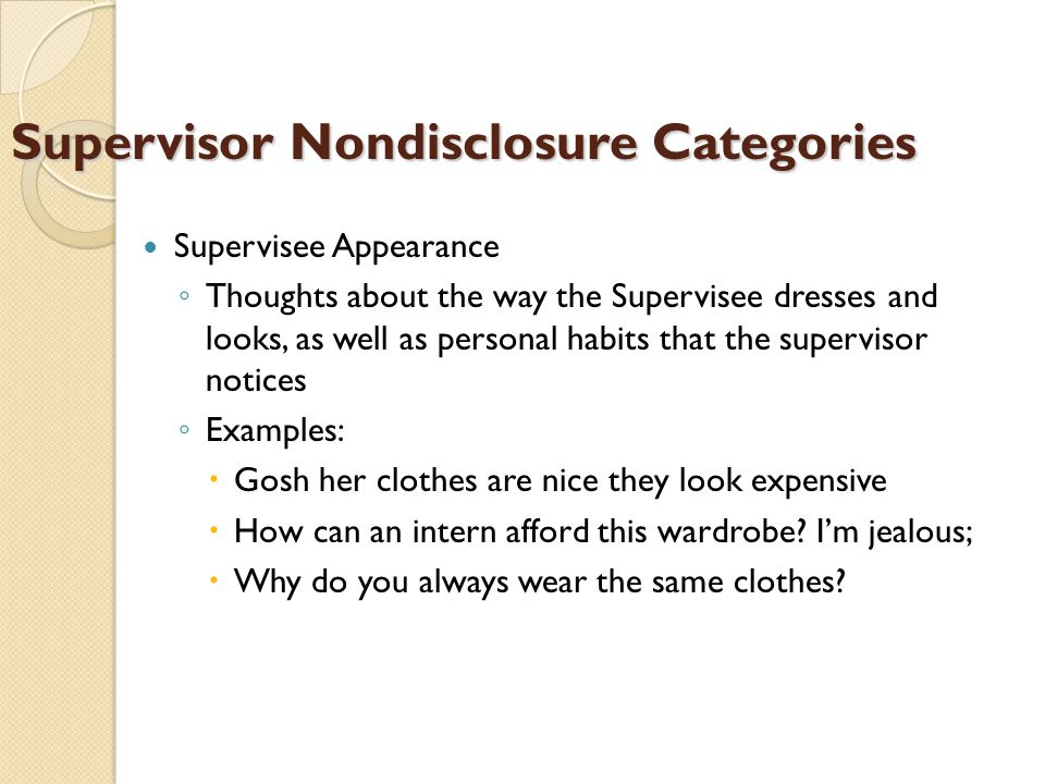 Supervisor Nondisclosure Categories