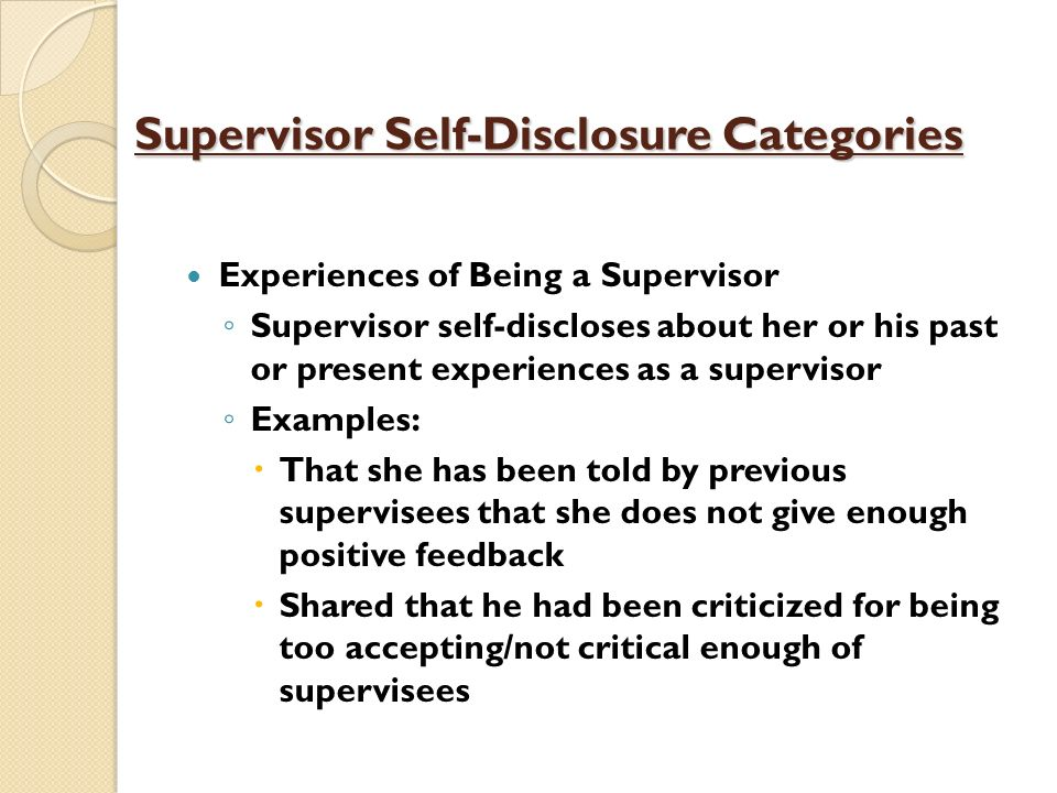 Supervisor Self-Disclosure Categories
