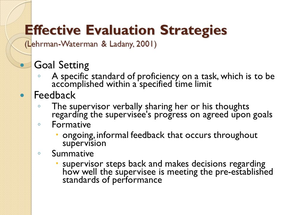 Effective Evaluation Strategies (Lehrman-Waterman & Ladany, 2001)