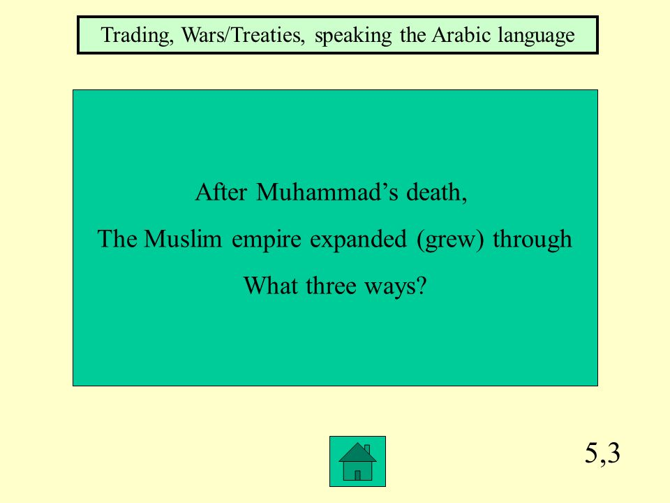 5,3 After Muhammad's death, The Muslim empire expanded (grew) through