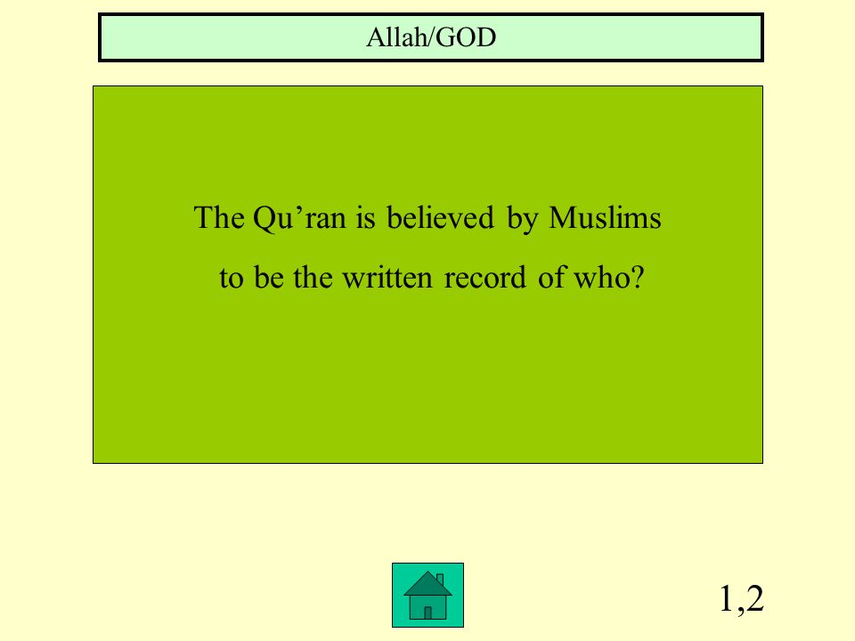 1,2 The Qu'ran is believed by Muslims to be the written record of who