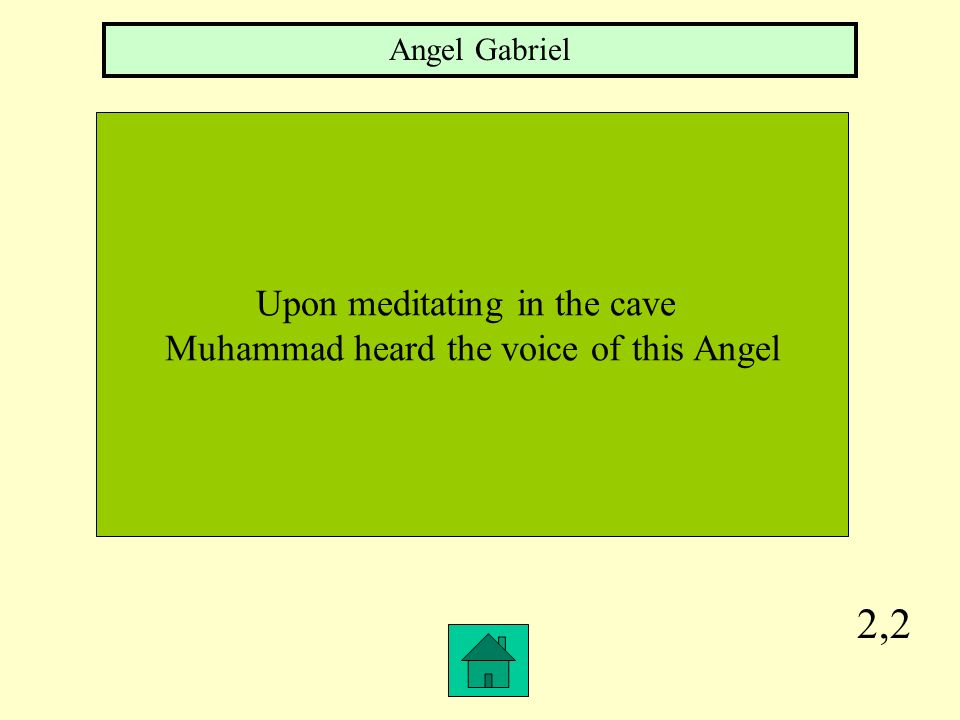 2,2 Upon meditating in the cave Muhammad heard the voice of this Angel