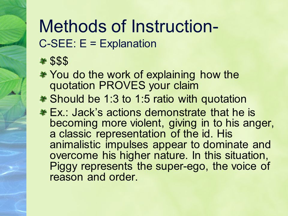 Methods of Instruction- C-SEE: E = Explanation