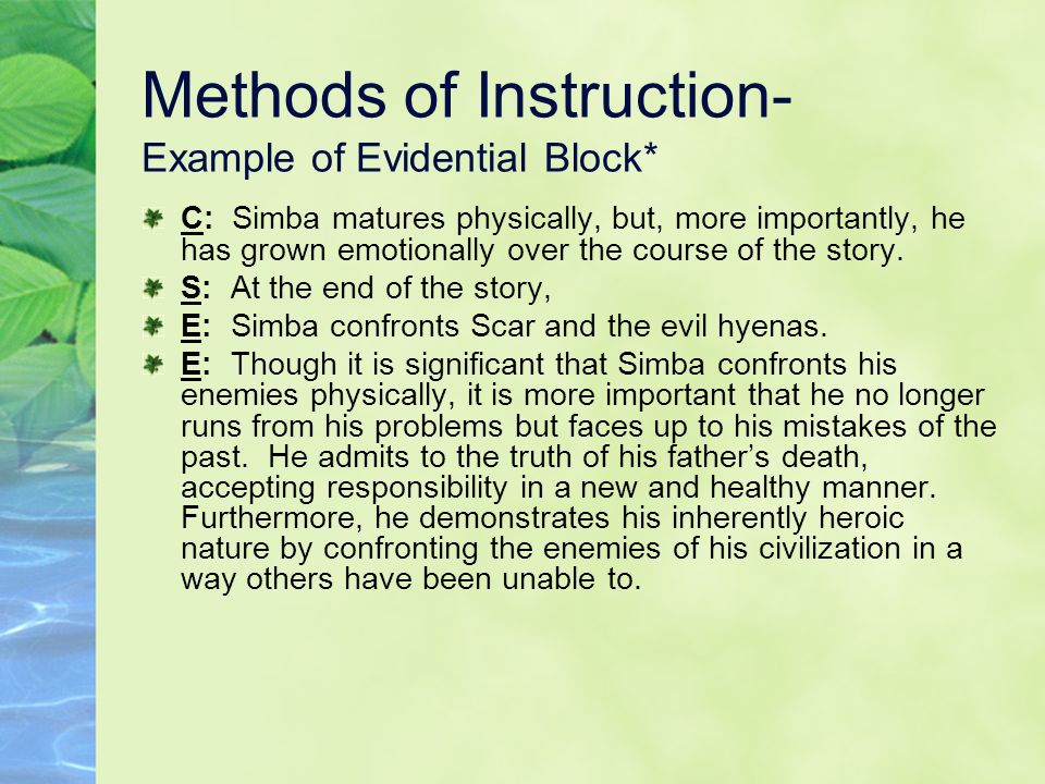 Methods of Instruction- Example of Evidential Block*