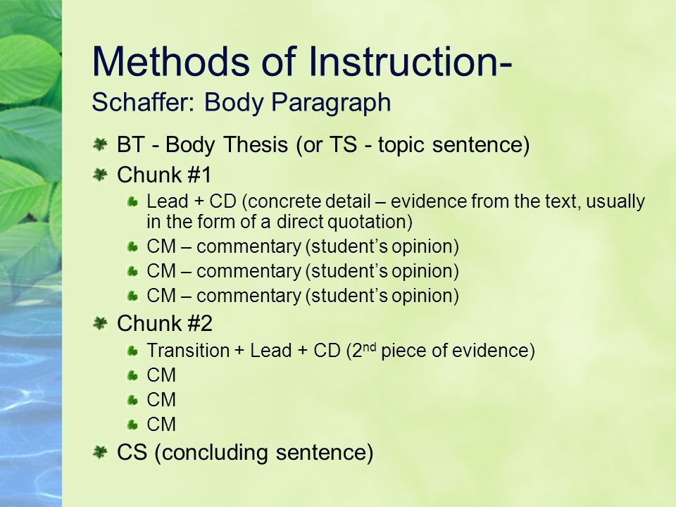 Methods of Instruction- Schaffer: Body Paragraph