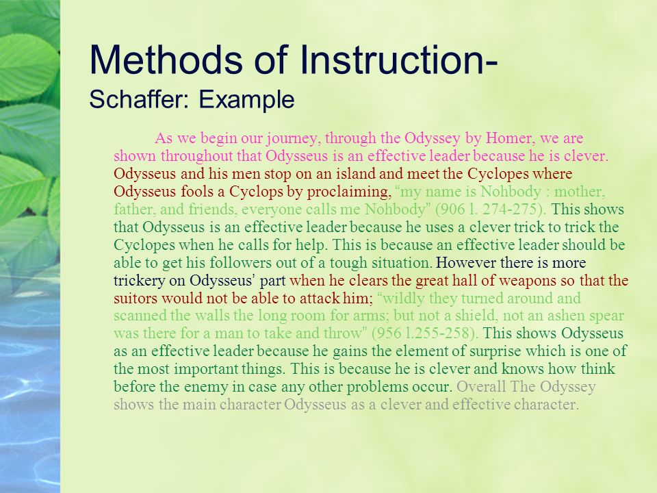 Methods of Instruction- Schaffer: Example