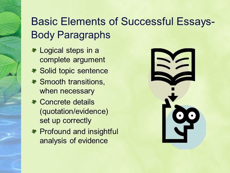 Basic Elements of Successful Essays- Body Paragraphs