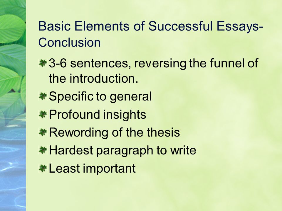 Basic Elements of Successful Essays- Conclusion