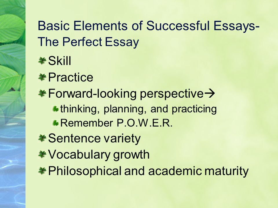 Basic Elements of Successful Essays- The Perfect Essay