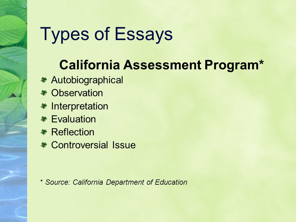 California Assessment Program*