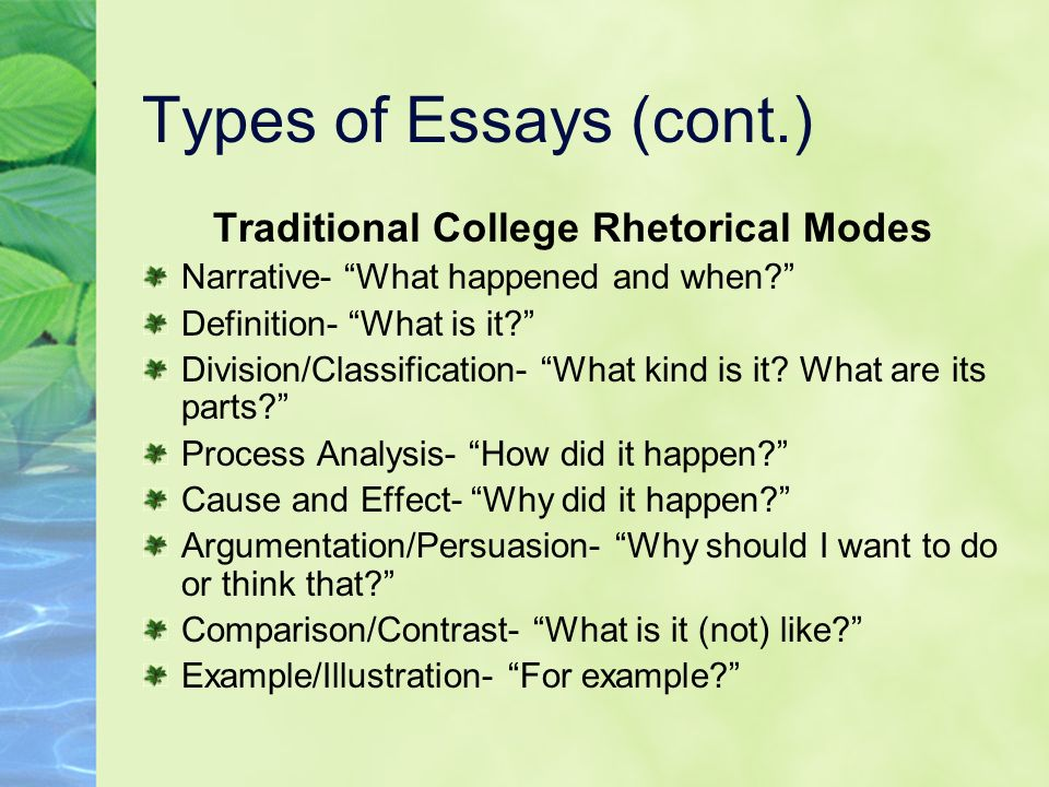 Traditional College Rhetorical Modes