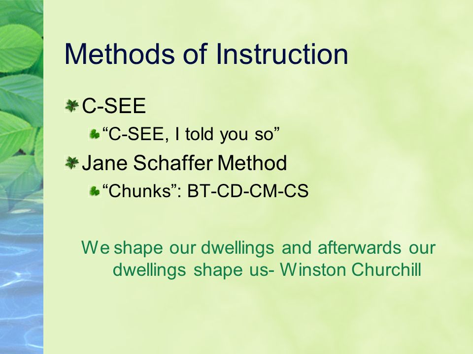 Methods of Instruction