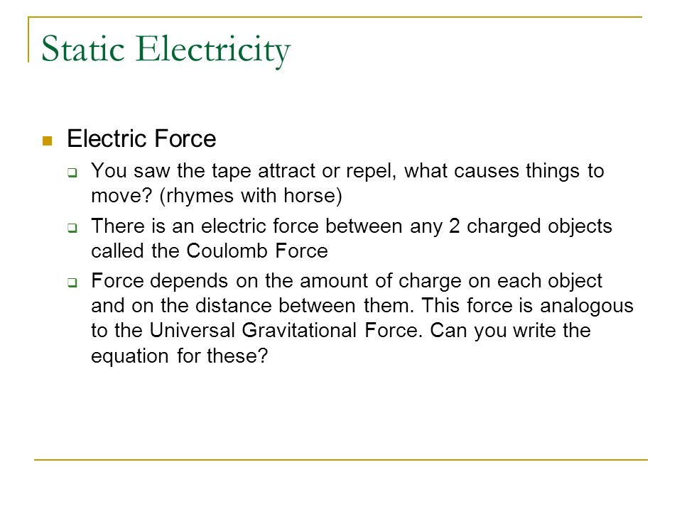 Static Electricity Electric Force