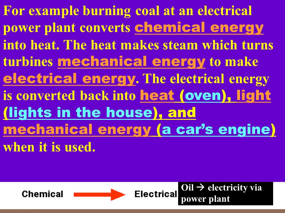 For example burning coal at an electrical power plant converts chemical energy into heat. The heat makes steam which turns turbines mechanical energy to make electrical energy. The electrical energy is converted back into heat (oven), light (lights in the house), and mechanical energy (a car's engine) when it is used.