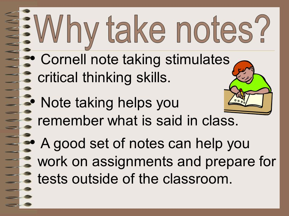 Cornell note taking stimulates