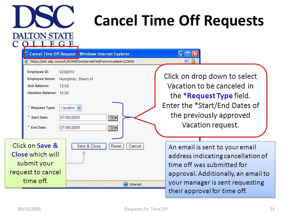 adp portal how to request cancel time off into the future june