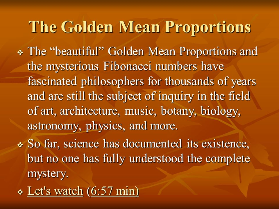 The Golden Mean Proportions