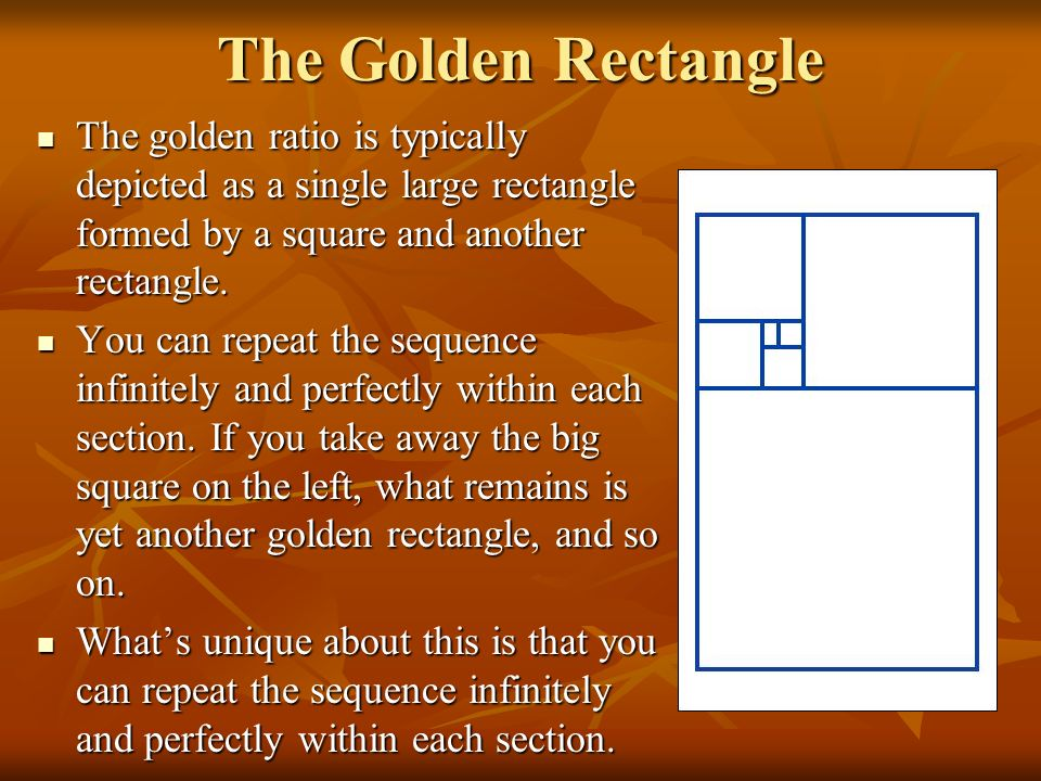 The Golden Rectangle The golden ratio is typically depicted as a single large rectangle formed by a square and another rectangle.