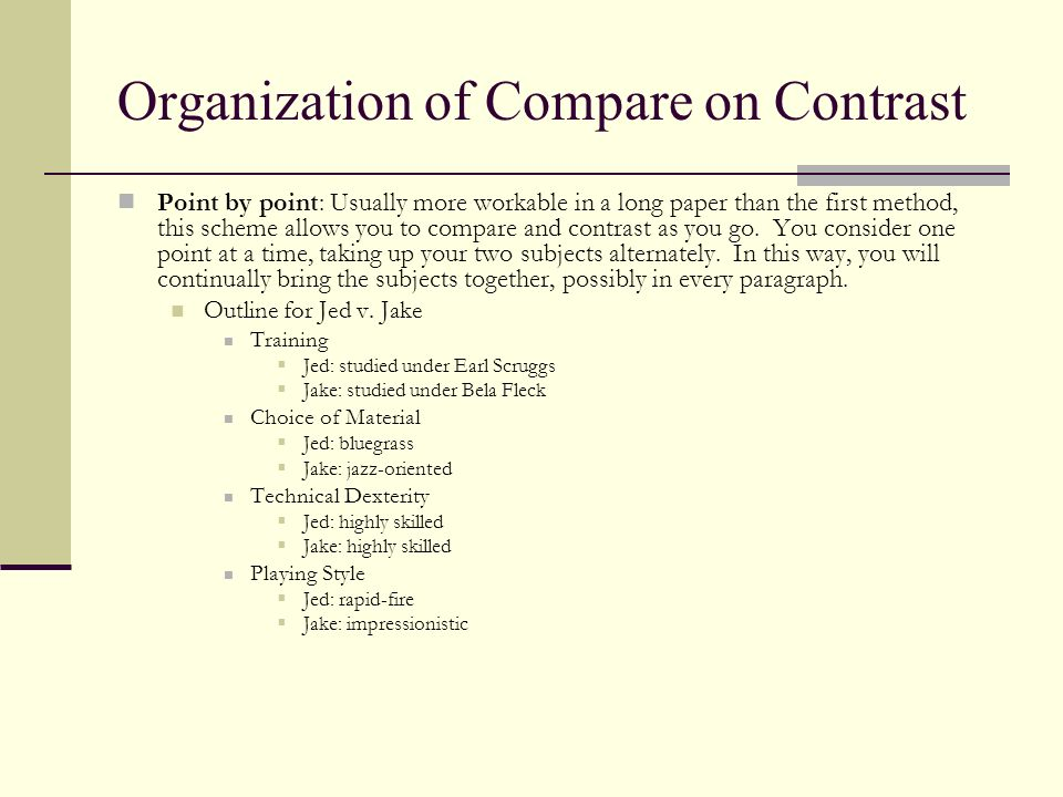 Organization of Compare on Contrast