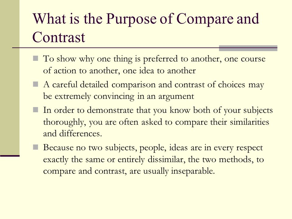 What is the Purpose of Compare and Contrast