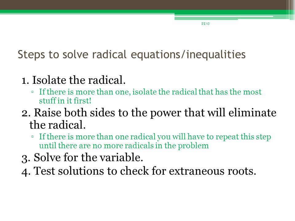 Chapter 7 Radical Equations Ppt Video Online Download