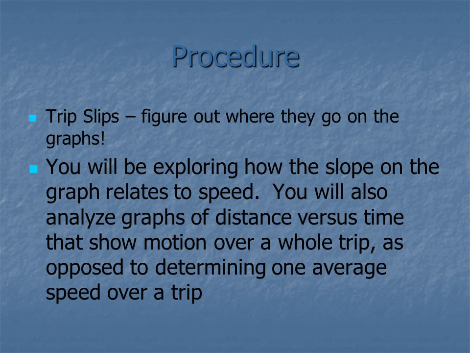 Procedure Trip Slips – figure out where they go on the graphs!
