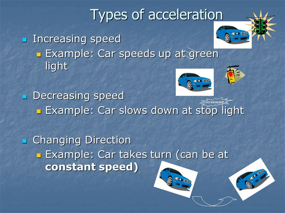 Types of acceleration Increasing speed
