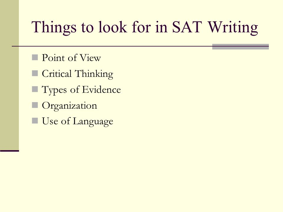 Things to look for in SAT Writing