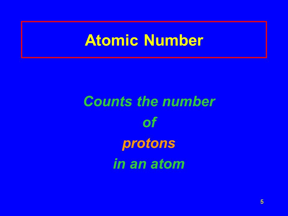 Atomic Number Counts the number of protons in an atom