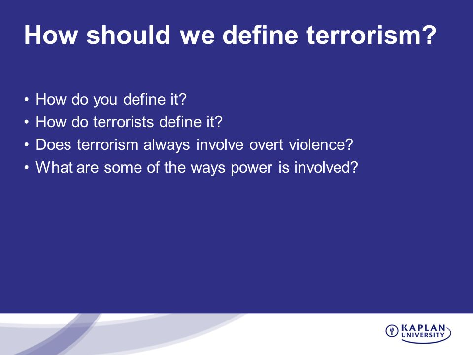 How should we define terrorism