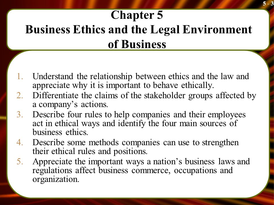 chapter 2 legal environment of business The legal environment of business and online commerce, 8e (cheeseman) chapter 2 ethics and social responsibility of business 1) ________ is a set of moral principles or values that governs the conduct of an individual or a.