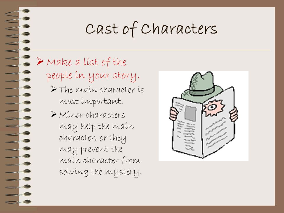 Cast of Characters Make a list of the people in your story.