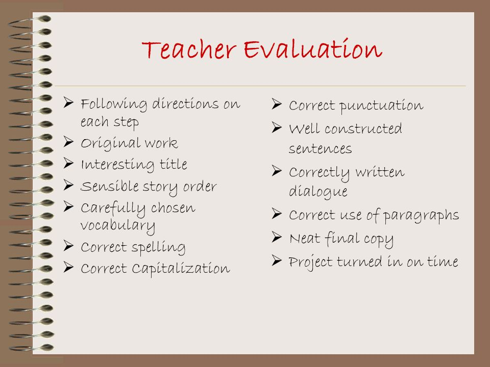 Teacher Evaluation Following directions on each step Original work