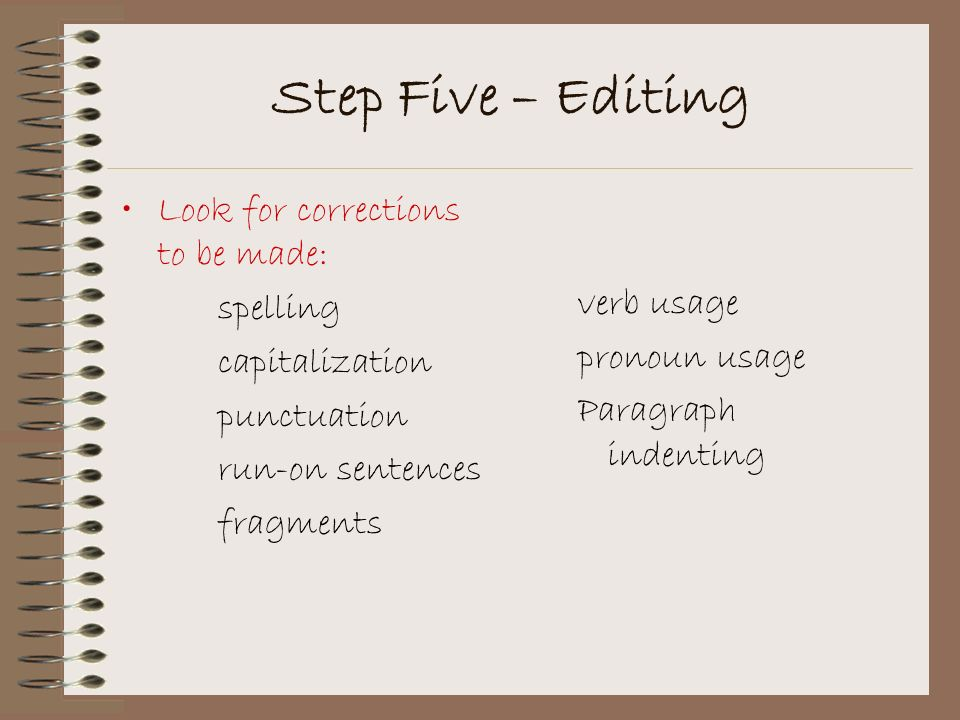 Step Five – Editing Look for corrections to be made: spelling