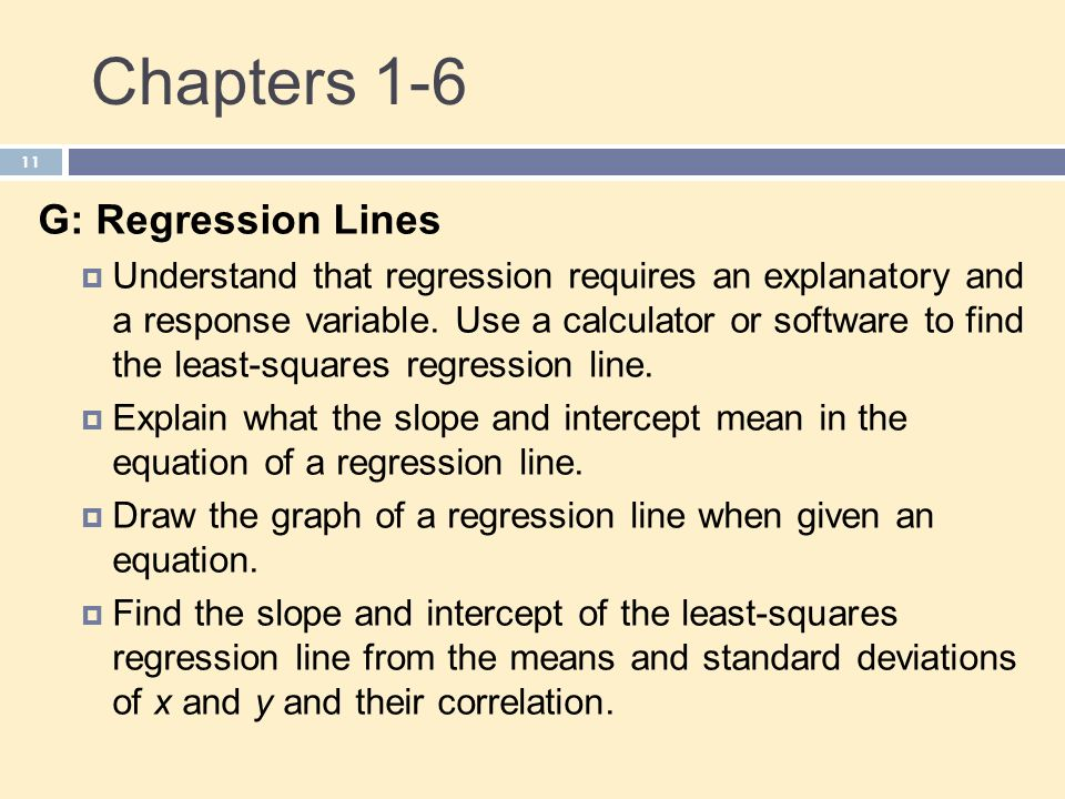 Chapters 1-6 G: Regression Lines