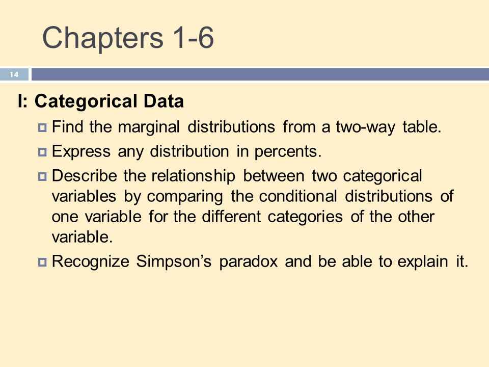 Chapters 1-6 I: Categorical Data