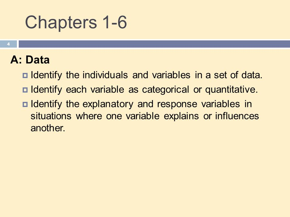 Chapters 1-6 A: Data. Identify the individuals and variables in a set of data. Identify each variable as categorical or quantitative.