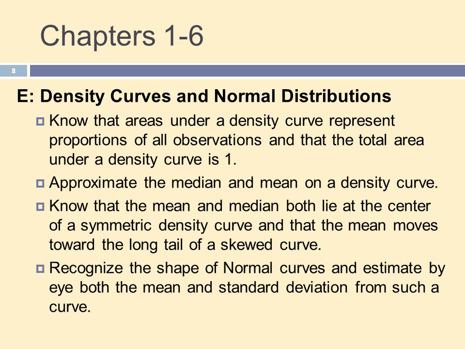 Chapters 1-6 E: Density Curves and Normal Distributions
