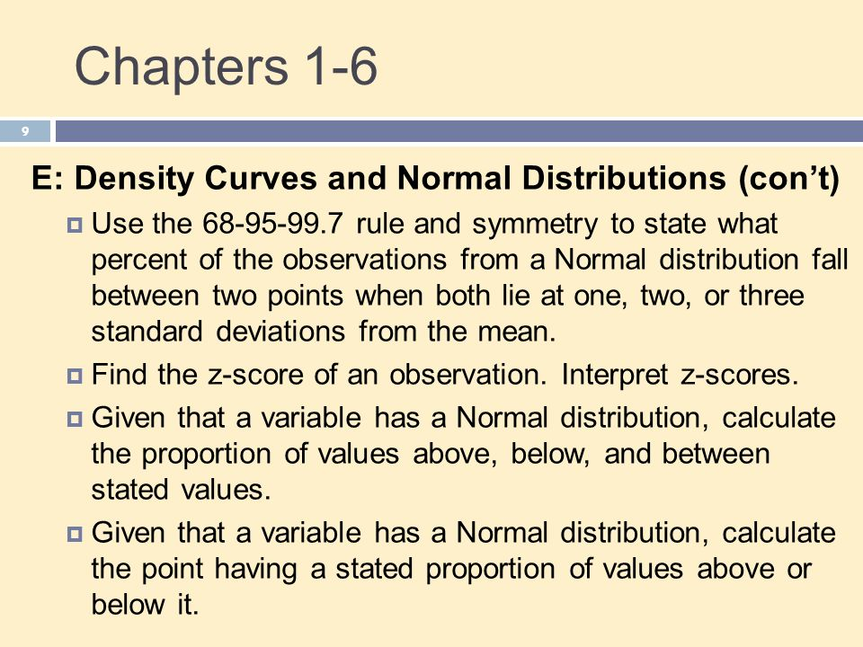 Chapters 1-6 E: Density Curves and Normal Distributions (con't)