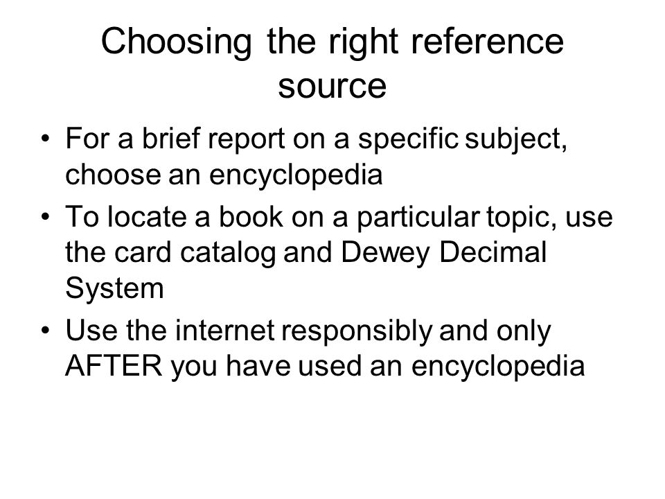 Choosing the right reference source