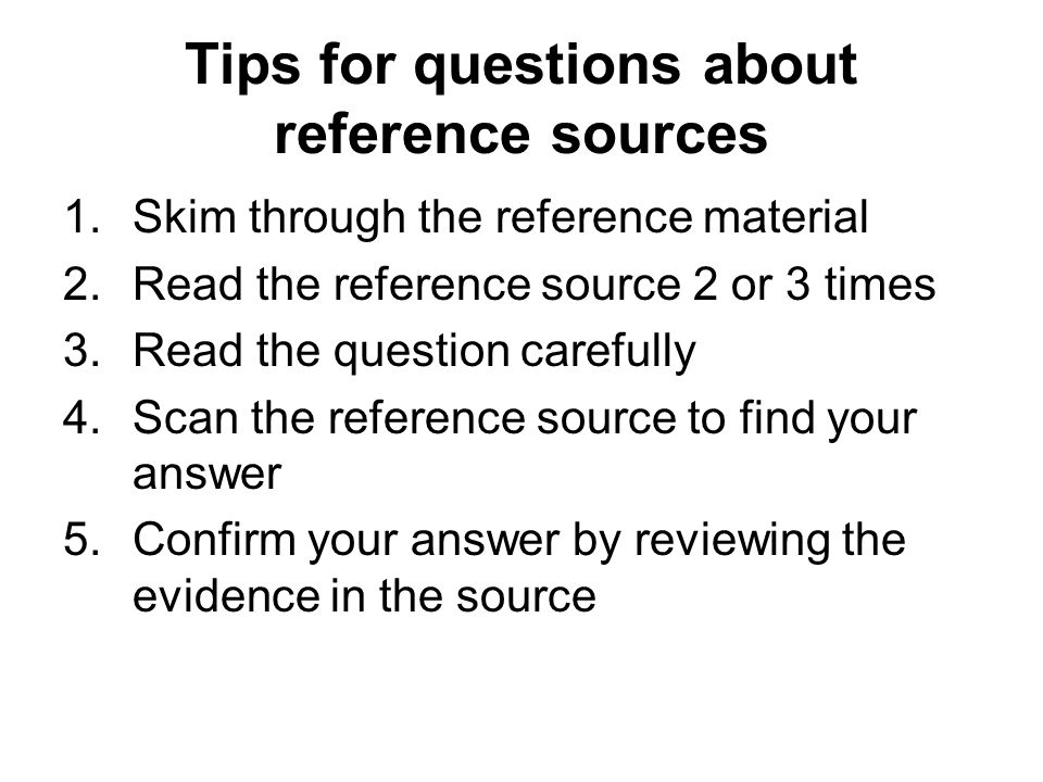 Tips for questions about reference sources